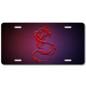 Red Dragon 2 With Pink Background License Plate Art Aluminum Car Tag Collectible