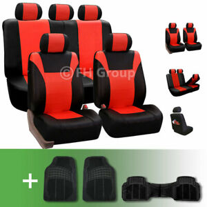Pu Leather Car Seat Cover Red Black For Auto Car With Heavy Duty Floor Mat