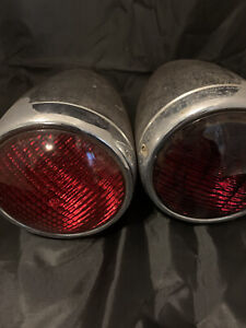 Pair Vintage Chrome Red Lense Emergency Auxiliary Police Fire Service Lights Rod