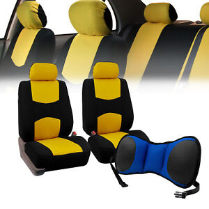 Front Bucket Seat Covers Yellow With Seat Back Cushion Pad Blue For Auto Suv Van