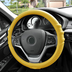 Yellow Steering Wheel Cover Silicone For Car Suv Universal Fitment