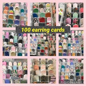 100 Assorted Earring Cards Tags Earring Displays Aprroximately 1 5x2 3 16