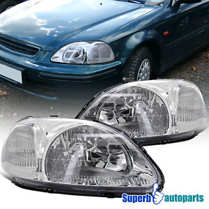 For 1996 1998 96 98 Honda Civic Headlights Head Lamps Replacement Pair