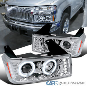 For 04 12 Chevy Colorado Gmc Canyon Led Dual Halo Projector Headlights Lamp Pair