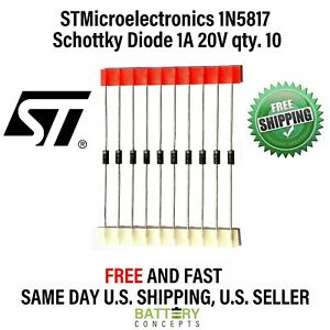 1n5817 Schottky Barrier Diode 1a 20v Qty 10 Free Shipping