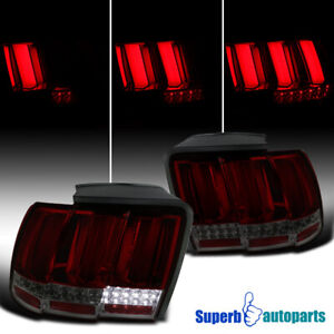 For 1999 2004 Ford Mustang Smoke Sequential Led Tail Lights Lamps Pair