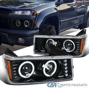 For 04 12 Chevy Colorado Gmc Canyon Pearl Black Projector Headlights W Led Halo