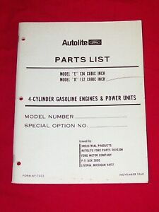 1968 Ford Autolite Model E 134 Cu In Model D 172 Cu In Parts List 4 Cyl Gas Eng