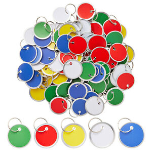 100 pack Paper Key Id Label Name Tags W Split Ring Rim Tag Small Coded Keychain