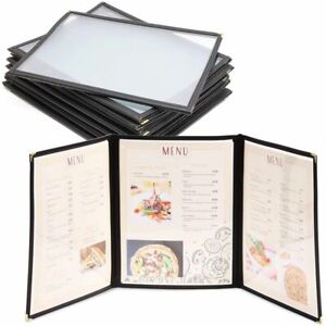 12 pack 3 page 6 View Restaurant Menu Covers 8 5 X 11 Clear Sleeve Triple Fold