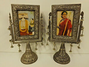 Vintage Indian Middle Esatern Pair Of Silver Washed Copper Pedestal Frames