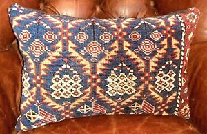 Antique Rug Pillow Kidney Shaped Wool Tribal Geometrical Blue Red Gold