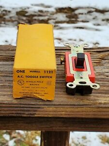 Hubbell Toggle Switch 20 Amp 120 277 Volt 1121 Single Pole Brown Vtg Electrical