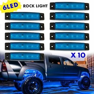 For Jeep Wrangler Underglow Body Grille Blue Led Decor Rock Lights Accessories