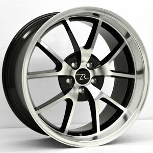 20 Black W Cnc 05 20 Mustang Fr500 Style Wheels Staggered 20x8 5 20x10 5x114 3