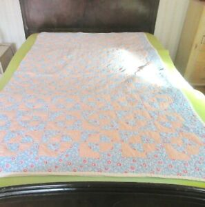 Vintage Quarter Circle Hand Sewn Orange Blue Floral Patchwork Quilt