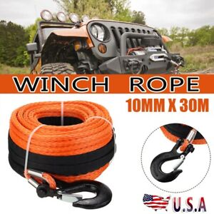 Winch Rope Dyneema Synthetic With Hook 3 8 X 100ft Car Tow Recovery 4wd Cable