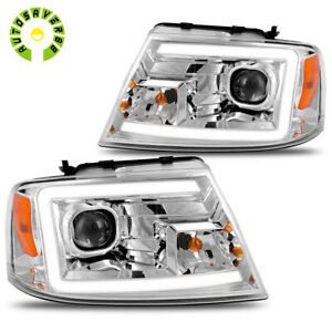 For 2004 2008 Ford F150 Pickup Led Drl Clear Side Projector Headlights Lamps Us