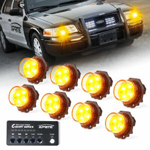 Xprite 8pcs Hideaway Led Strobe Lights Head W Control Box Yellow Amber Warning