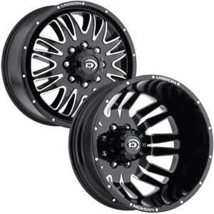 Set Of 6 20 Inch Vision 401 Rival Dually 8x170 Black machined Wheels Rims
