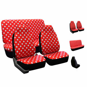 Red Highback Polka Dots Car Seat Covers Full Set For Solid Bench