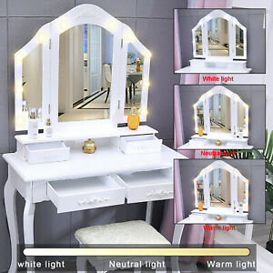 Vanity beauty makeup table set dressing Table W 3 Mirrors 3 Color Led 4 Drawers