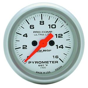 Auto Meter Ultra Lite Electric Egt Pyrometer Gauge Kit 2 1 16 0 1600 Degree F