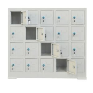 20 Door Compartment Key Lock Office Gym Storage School Locker Cabinets Tool