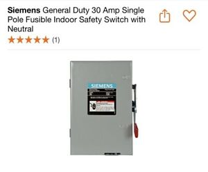 Siemens General Duty 30 Amp Single Pole Fusible Indoor Safety Switch W Neutral
