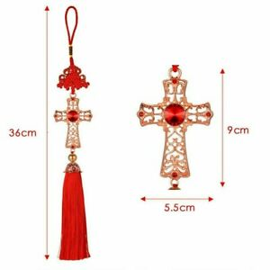Car Auto Pendant Alloy Cross Crystal Vehicle Mirror Rear View Hanging Decoration