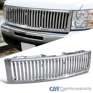 For Chevy 07 13 Silverado 1500 Pickup Vertical Chrome Front Bumper Hood Grille