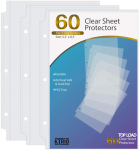 Ktrio Heavyweight Sheet Protectors Clear Page Protectors 5 5 X 8 5 Inches For Mi