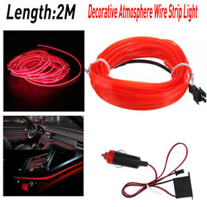Red Led Auto Car Interior Decor Atmosphere Wire Strip Light Lamp Accessories Ea
