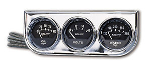Auto Meter 2349 Autogage Black Oil Press Water Volt Chrome Console 2 1 16