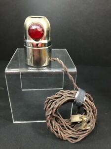 Early Vintage Trouble Light With Red Glass Insert
