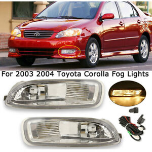 Clear Bumper Driving Fog Lights Lamp For 2003 2004 Toyota Corolla Ce Le S