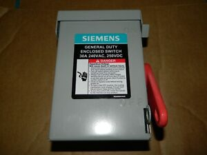 New Siemens 30 Amp Non fused Safety Switch 240v 7 5 Hp 3 Phase Nema 1 Gnf321a