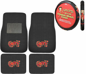 New 5pc Betty Boop Car Truck All Weather Carpet Floor Mats Steering Wheel Cover