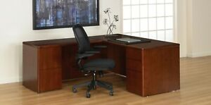 Wooden L Shaped Executive Desk With Drawers And Reversible Return Cherry Finish