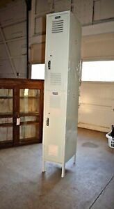 Vintage Metal School Locker By Lyon Painted Ivory Off White 217 218