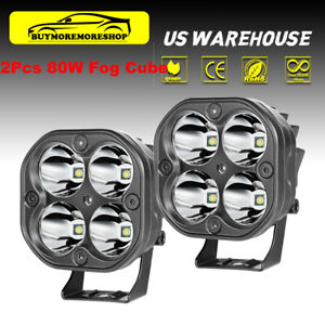 2x 3inch 80w Led Pods Spot Light Bar Off road Work Cube Truck Driving Fog Lamps