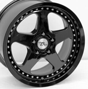 17 Full Black Mustang Saleen Sc Style Wheels Staggered 17x9 17x10 5x114 3 94 04
