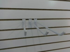 3 Retail Slatwall Grid Panels Hook 12 Long White Display Store Wall Fixtures