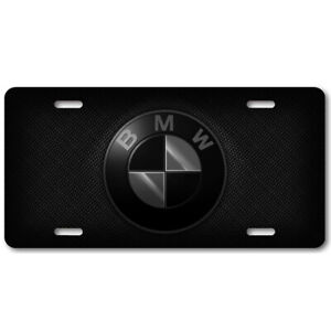 Bmw Black 3 Logo On Carbon Larger License Plate Aluminum Tag Collectible