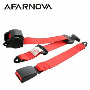 1piece 3 point Harness Retractable Safety Seat Belt Lap Strap Red Universal