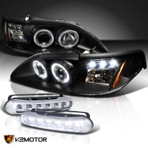 Fit 94 98 Mustang Halo Projector Headlight Signal Black led Fog Lamps