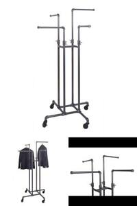 Pipeline Gray Steel Adjustable Clothes Rack With Wheels 16 In W X 72 In H