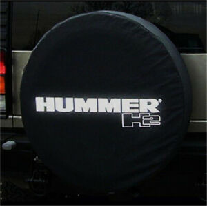 34 35 Spare Wheel Tire Cover For Hummer H2 Silver Logo Denim Vinyl Tyre Covers