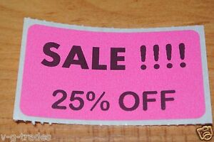 Lot 200 Pink Sale 25 Off Price Labels Stickers Tags Retail Store 2x1 Inch