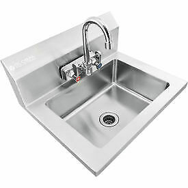 Global Industrial Stainless Steel Wall Mount Hand Sink W faucet Strainer